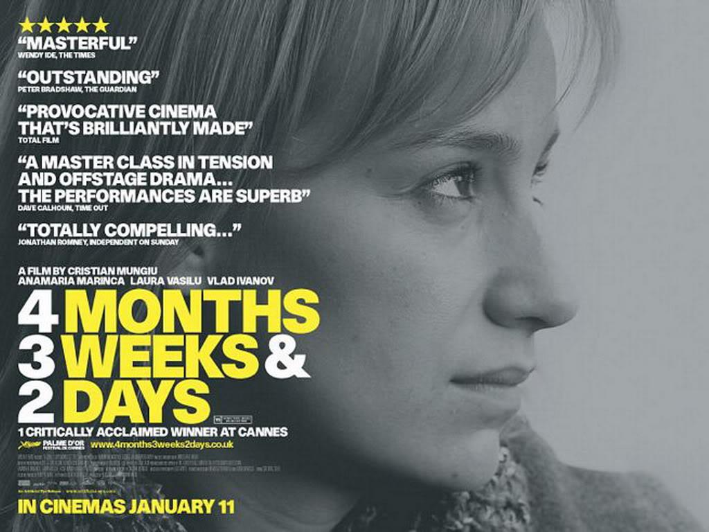 """Plakat filmu """"4 miesiące, 3 tygodnie i 2 dni"""""""